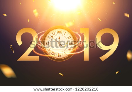 2019 new year shining background with clock. Happy new year 2019 celebration decoration poster, festive card template.