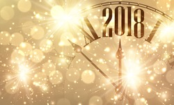 2018 New Year shining banner with clock. Vector illustration.