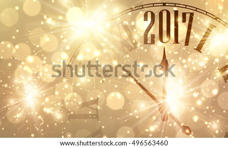 2017 New Year shining banner with clock. Vector illustration.