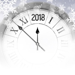 2018 new year shining snow background with clock. Happy new year 2018 celebration decoration poster, festive card template.