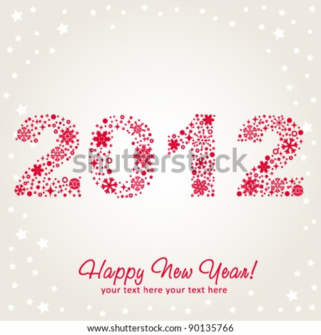 2012 New Year shiny invitation postcard with snowflakes, stars and glitter. Vector illustration