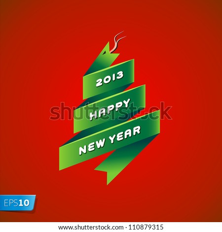 2013 new year snake on red background, vector Eps10 illustration.