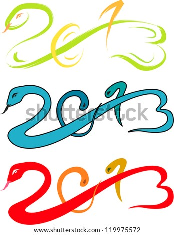 2013 new year, snake sketch vector illustration