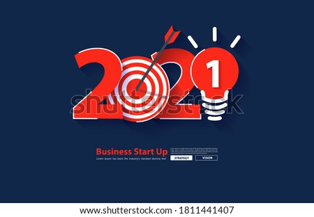 2021 new year startup business rocket launch with creative light bulb ideas, Vector illustration modern design layout template