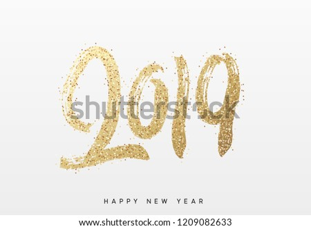 2019 New Year. Text golden with bright sparkles. - Shutterstock ID 1209082633