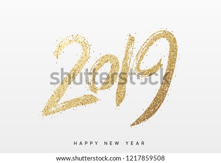 Stock Photo 2019 New Year. Text golden with bright sparkles.