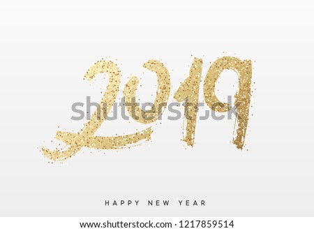 2019 New Year. Text golden with bright sparkles. - Shutterstock ID 1217859514