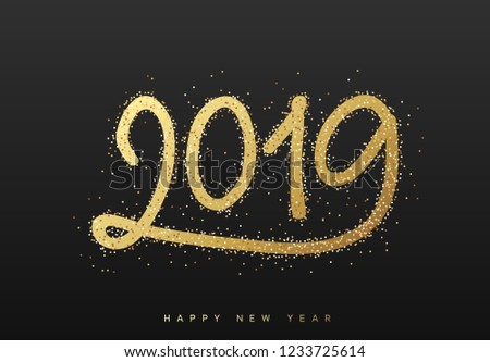2019 New Year. Text golden with bright sparkles on black background #1233725614