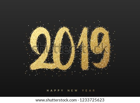 2019 New Year. Text golden with bright sparkles on black background #1233725623