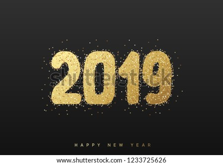 2019 New Year. Text golden with bright sparkles on black background #1233725626