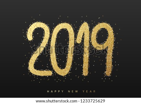 2019 New Year. Text golden with bright sparkles on black background #1233725629