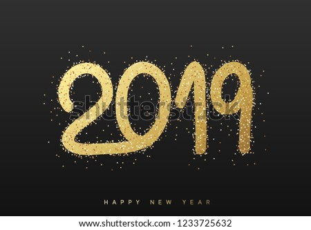2019 New Year. Text golden with bright sparkles on black background #1233725632