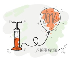 2016, New year.The pump inflates the balloon. Vector illustration for printing.