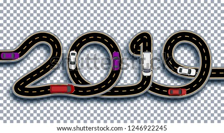2019 New Year. The road is stylized as an inscription. Trucks and cars. Isolated On Transparent Background With Shadow. Vector Illustration