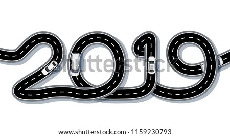 2019 New Year. The road is stylized in the form of an inscription. Freight and cars. Isolated. Vector illustration
