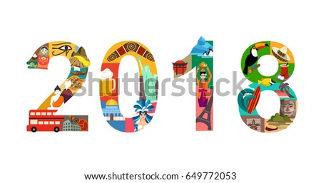 2018 new year travel vector