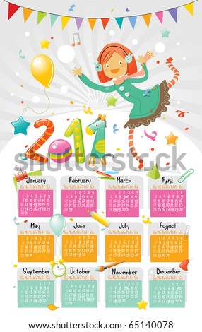 new year 2011 wall calendar for kids