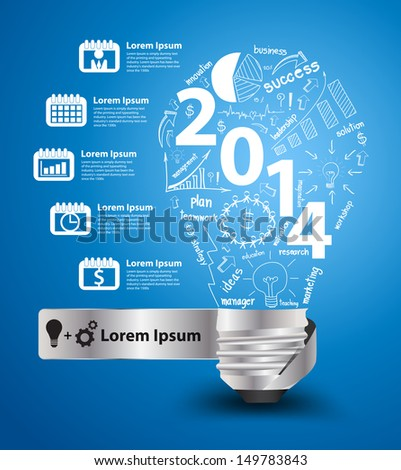 2014 new year with creative light bulb idea with drawing charts and graphs business success strategy plan concept workflow layout diagram binder silhouettes icons Vector modern design template