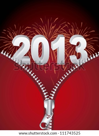 2013 new year with fireworks and zipper. vector illustration