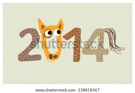 2014 new year with funny horse