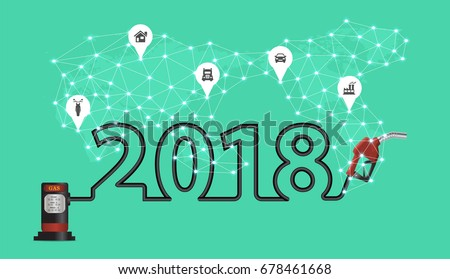 2018 new year with gasoline pump nozzle creative design, Fuel pump icon, Petrol station sign, Power energy oil and gas concept, Vector illustration modern layout template