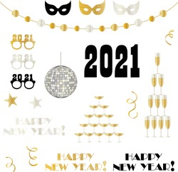 2021 new years eve vector clipart