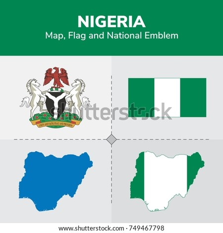 Nigeria Map, Flag and National Emblem