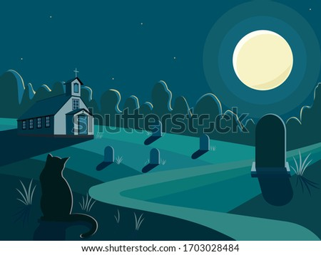 night and cemetery with a