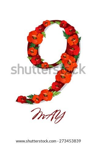 9 nine may star poppy flower, victory day