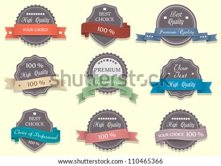 Nine Premium Quality labels.Vector set
