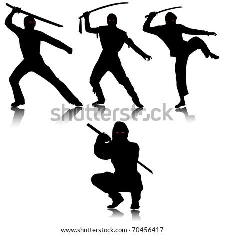 ninjas silhouettesvector