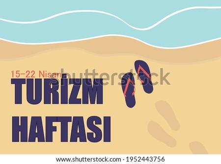 15-22 Nisan (April) Turizm Haftası (Tourism week) concept vector illustration. Tourism week background, banner, card, poster design.  Stok fotoğraf ©