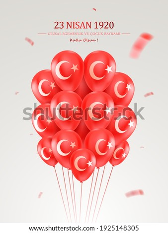 23 Nisan Ulusal Egemenlik ve Cocuk Bayrami, Kutlu Olsun. 23 April, National Sovereignty and Children's Day Turkey, celebration card. Vector illustration.