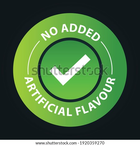 'no added artificial flavor vector icon with tick mark,  green in color Stock photo ©