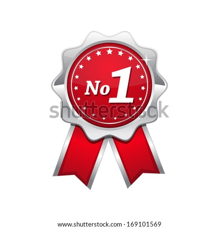no 1 red seal vector icon