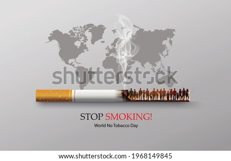 No smoking and World No Tobacco Day with many people and hand anti cigarette in city,paper collage style with digital craft .