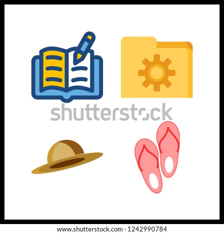 4 nobody icon. Vector illustration nobody set. sandal and open book icons for nobody works