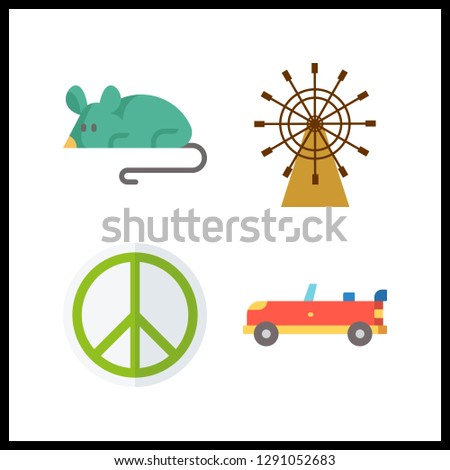 4 nobody icon. Vector illustration nobody set. sport car and pacifism icons for nobody works