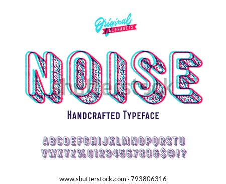 'Noise' Vintage Sans Serif Distorted Rounded Alphabet. Retro Typography with Glitch Effect. Vector Illustration.