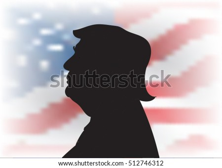 09 NOV, 2016: New 45th President of United States was elected. Picture of Donald Trump. Trump new president portrait.Donald Trump silhouette.Donald Trump.Donald Trump. Donald Trump.Donald Trump.
