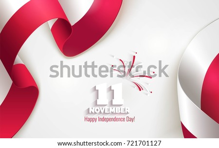 11 november. Poland Independence Day greeting card. Waving poland flags isolated on white background. Patriotic Symbolic background  Vector illustration