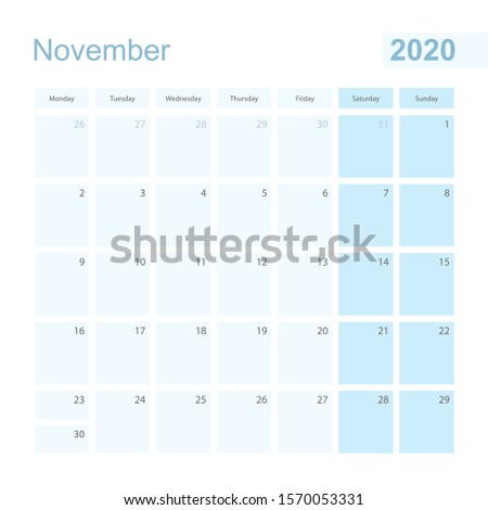 2020 November wall planner in blue pastel color, week starts on Monday. Calendar for November 2020 with blue square and with day of previous and next month.
