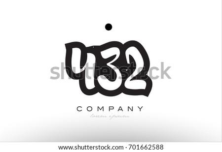 432 number black white bold