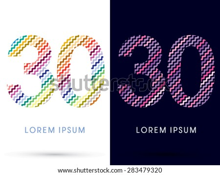 30 number  colorful font