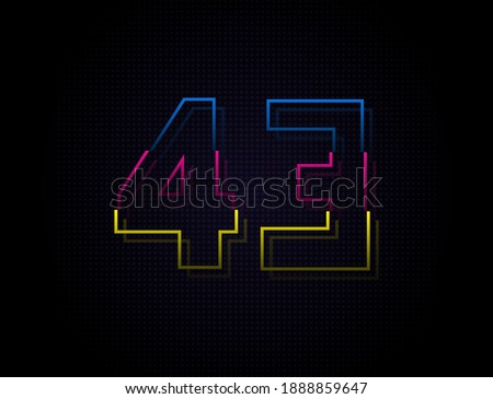 43 number colorful outline