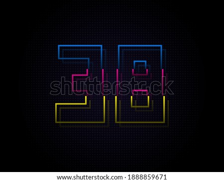 38 number colorful outline