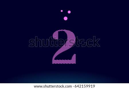 2 number digit logo pink line