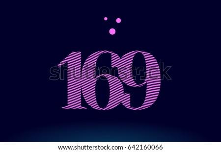 169 number digit logo pink line