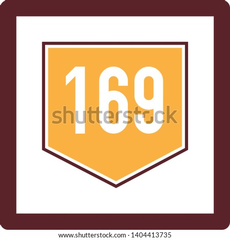 169 number icon in trendy flat