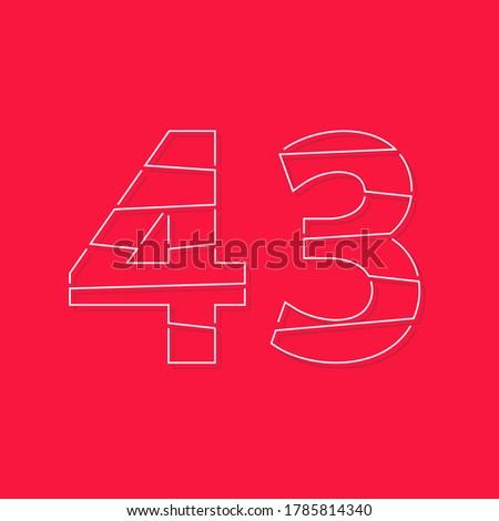 43 number  linear stroke font